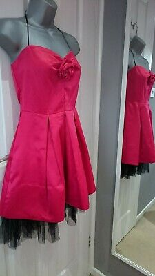 As U Wish Prom/Party Dress silky cerise pink with black netting size 8-10