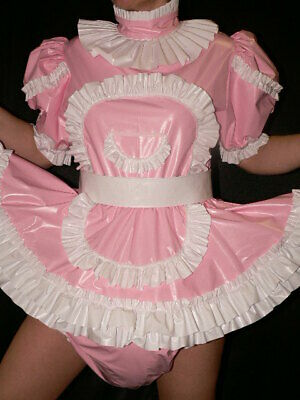 Z69*Adult Baby Sissy Zofe pvc dress with sewn in diaper panty*kleid &Spreizhose