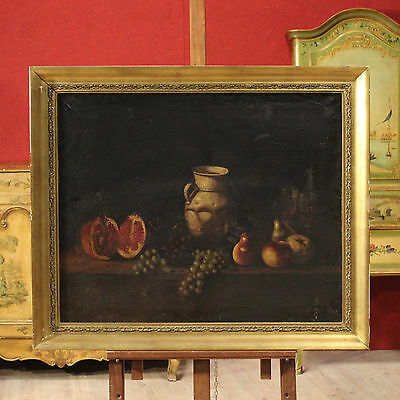 Painting Still Life Painting Signed Oil on Canvas Spanish Antique Style 900 Xx