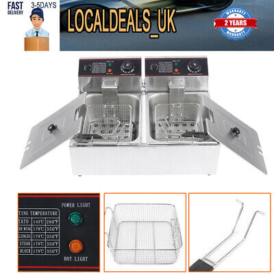 5000W Industrial Stainless Dual Basket Deep Fryer Electric Double Tank Fat Chip