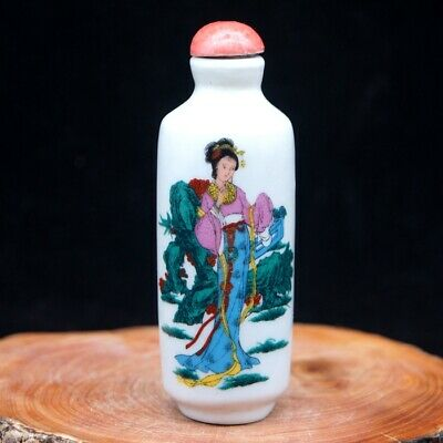 Chinese Collectible Handmade ceramics Ancient Beauty porcelain snuff Bottle 3