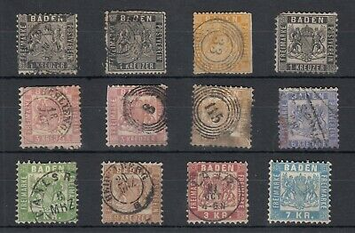 Germany Baden German States Early Collection Of 12 Fine Used J4633