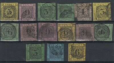 Germany Prussia German States Unchecked Imperf Collection Of 15 Fine Used J4640