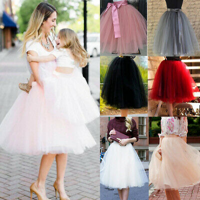 Family Matching Dress Mother Daughter Summer Tutu Party 7 Layers Tulle Skirt