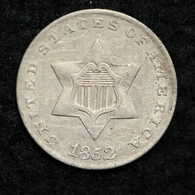1852 Three Cent Silver Piece CHOICE XF FREE SHIPPING E143 AFT