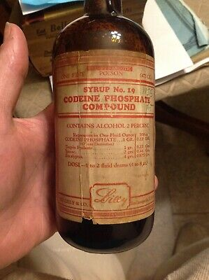 Medicine Bottle CODEINE PHOSPHATE COMPOUND LILY INDIANAPOLIS IN LABEL. 1910