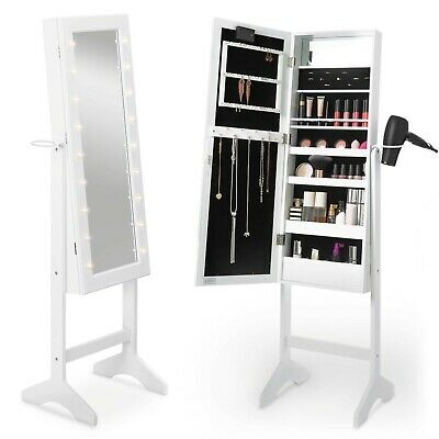 Beautify Full Length Mirror Cabinet White LED Makeup Jewellery Organiser Storage
