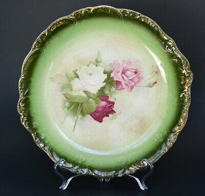 Antique plate ceramic James Kent Fenton Old Foley green flowers roses porcelain
