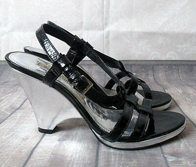 e4116796380e BUFFALO Damen Leder Sandale Wedges High Heel Schuhe Schwarz Silber Party 38