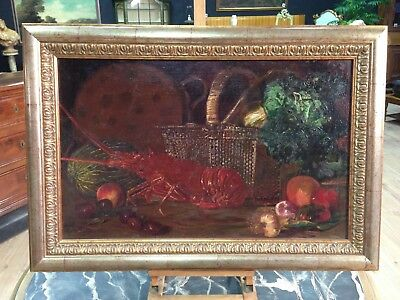 Antique Painting Signed Painting Oil on Canvas Still Life Lobster Dated Spanish