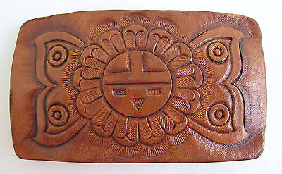 Vintage Leather Belt Buckle Hand Tooled Indian Corn Maiden Tan Cow Hide