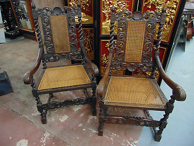 Pair~~Gorgeous  Solid Oak Highly Carved Barley Twist Throne Chairs 19th Century