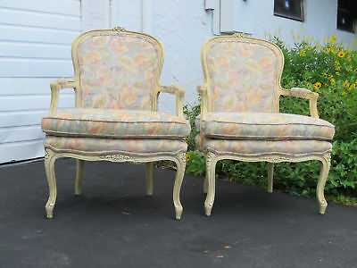 French Pair of Vintage Wide Living Room Side Chairs 8566