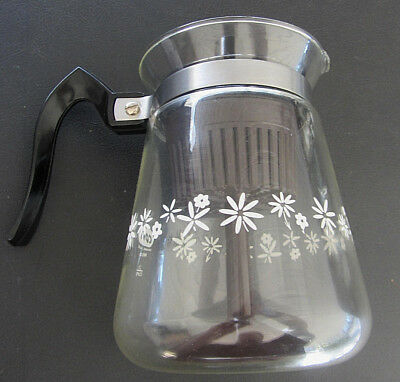 Vintage Cory Glass Stovetop 5 Cup Floral Percolator Coffee Maker MBS35 .......d