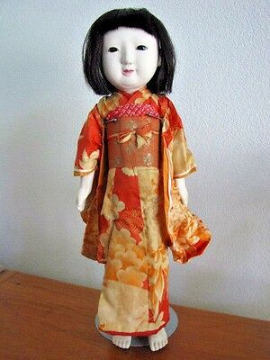 "Antique Singing Doll Japanese Geisha Ichimatsu Ningyo Gofun  50cm 19.75"" Tall"