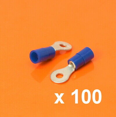 High Quality 100 x M3 3.2mm Insulated Blue Ring Terminals Wire Size 1.5mm-2.5mm²