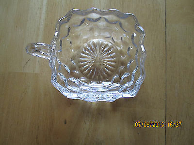 "Vintage Heavy 4"" Diameter Pressed Glass Squared Bowl / Candy Dish with Handle"