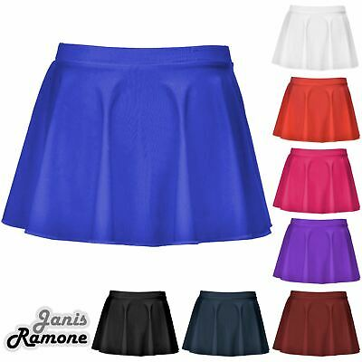 Girls Kids Shiny Nylon Lycra Ballet Dance Tap Gymnastics Circular Skater Skirt