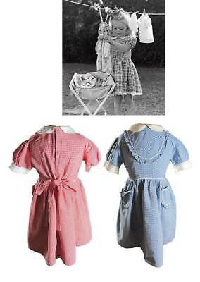 50's Vintage girls classic girls gingham dresses blue or red matching knickers a
