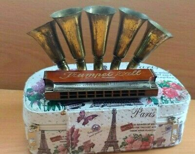 Antique M. Hohner Trumpet Call Harmonica Made in Germany  / with other box