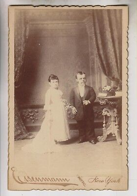 Circa 1881 Cabinet Photo - Major Littlefinger & Wife - Midget Circus Performers