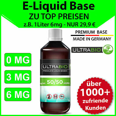 Liquid Base 1 L ⭐ E-Liquid Base 1000ml 3mg, 6mg in 50/50 und 70/30 mit Nikotin