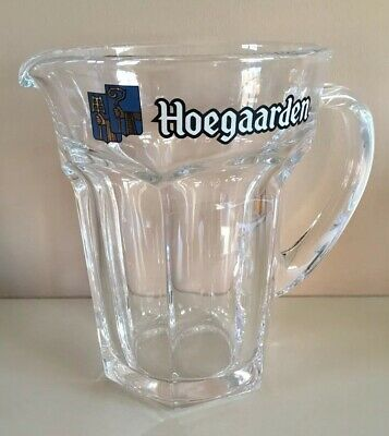 HOEGAARDEN Heavy Glass 2 Pint Beer Jug Pitcher Crown Stamped 562 Solid 1 Litre