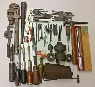 Vintage Hand Tools Lot of 16 with 28 Assorted Chisels, Drill Bits & Stamp Tools