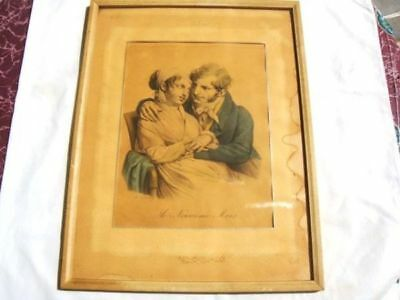 ANTIQUE OLD  ORIGINAL FRANCE Engraving Print by L Boilly 1700's LE NEUVIEME MOIS