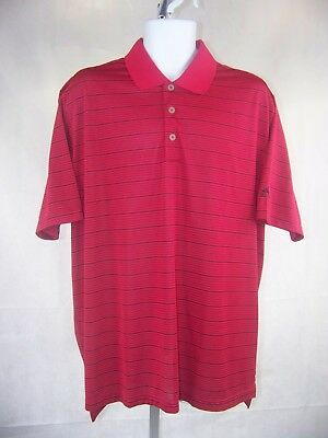 Adidas Men's Golf Polo Shirt Climalite Size Large Red Striped Short Sleeves NWOT