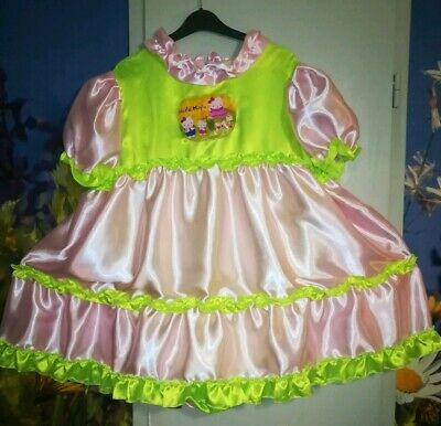 Adult Baby Kleid INTEGRIERTE Windelhose Sissy GLANZSATIN PVC LACK HELLO KITTY XL