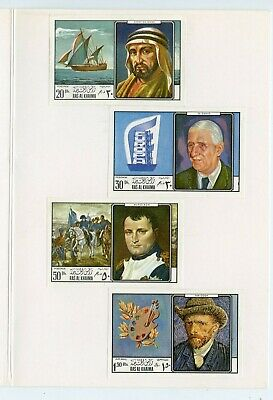 Ras Al Khaima Men   Proof Imperf Set(4) Mounted On Kultura  Hungarian  Folder