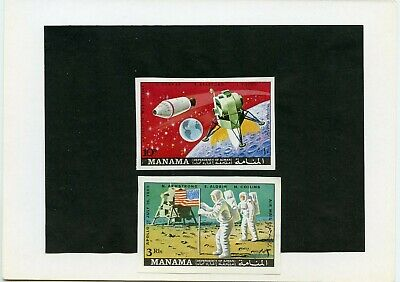Manama  Apollo 11 Space  Proof Imperf Set(2) Mounted On Kultura Hungarian Folder