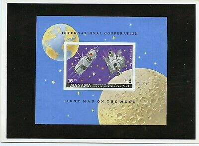 Manama  Apollo 11 Space  Proof Imperf S/s  Mounted On Kultura Hungarian Folder