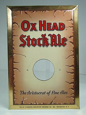 Old OX HEAD STOCK ALE Bar Pub Tavern Beer Ad Sign Rochester NY Bevel Edge Tin