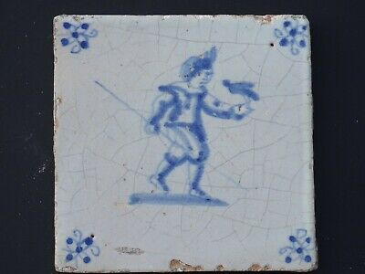 Delft blue tile Man with Bird 17th century