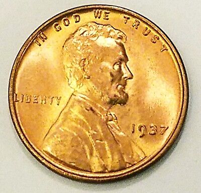 1937-P, Lincoln Wheat Cent Penny Gorgeos B U CH/GEM Nice Luster From OBW Roll