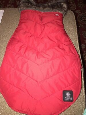 American Kennel Club Pet Dog Red Puffer Jacket W Fur Collar AKC (CT)