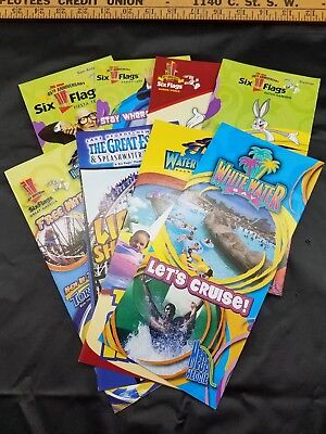 Six Flags 45th Anniversary Theme Park Brochures 2006 Lot Of 8 Different Parks