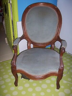 Estate Antique Gentlemens Parlor Chair French Country Victorian Carved Wood