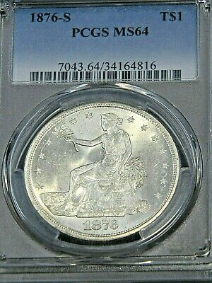 1876-S Trade Dollar PCGS MS64 Rare in Blast White Superb Luster, PQ #61S