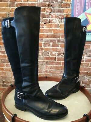 0256e837000ca Marc Fisher Black Leather & Suede Damsel Wide Calf Riding Boots 9.5 W SALE