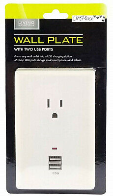 Living Solutions Charging Station With 2 USB Ports & 1 AC Outlet Wall Plate