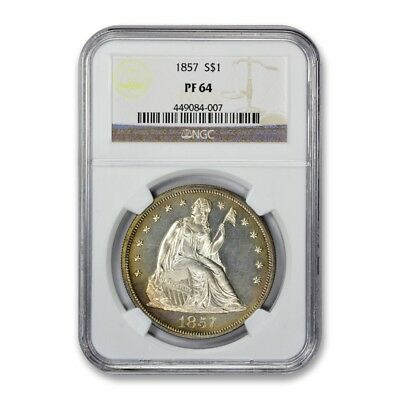 1857 Proof Seated Liberty Dollar NGC PF 64 Proof Light Cameo Tough Year