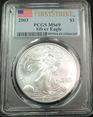 2003 First Strike American Eagle 1 Ounce Fine Silver Dollar Coin Pcgs Ms 69