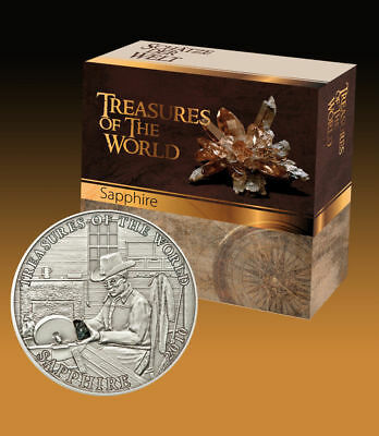 Palau 2010 $5 Treasures of the World SAPPHIRE Silver Coin Mintage ONLY 2000!!!