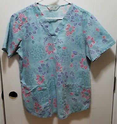 461749c0400 Cherokee Inspired Comfort Women's Scrub Top Blue Floral Small EUC No Size  Tag