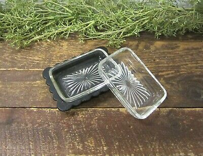 2 Vintage Clear Glass Soap Dishes One with Metal Tray