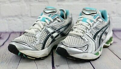 a34219cfb6 ASICS GEL KAYANO 14 Womens Running Shoes BLUE WHITE SILVER GREEN TN850 Size  6