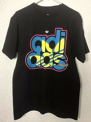 Adidas Originals Men's Black Trefoil Spellout T Shirt Size Medium